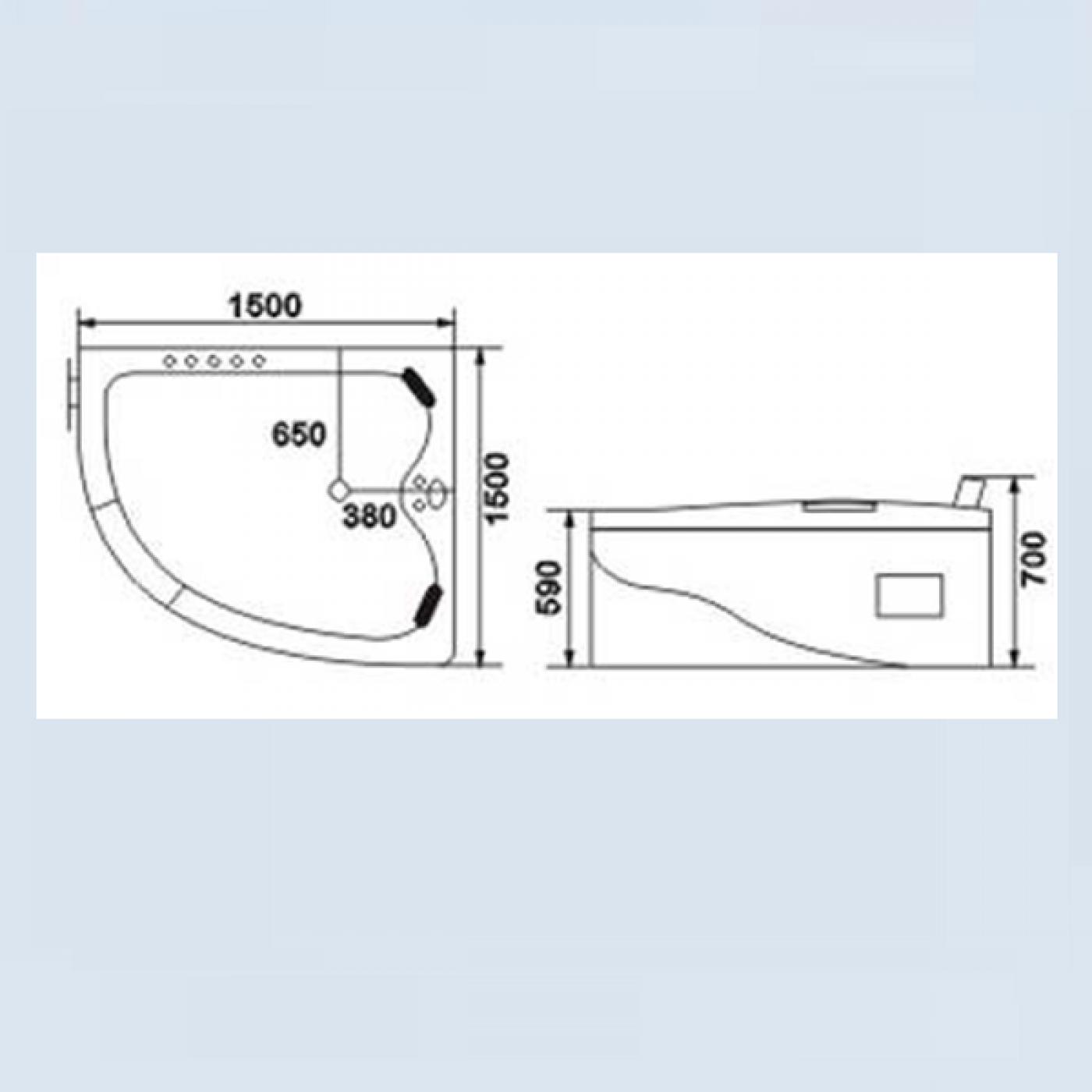 VASCA IDROMASSAGGIO 150X150 IDRODUAL ANGOLARE