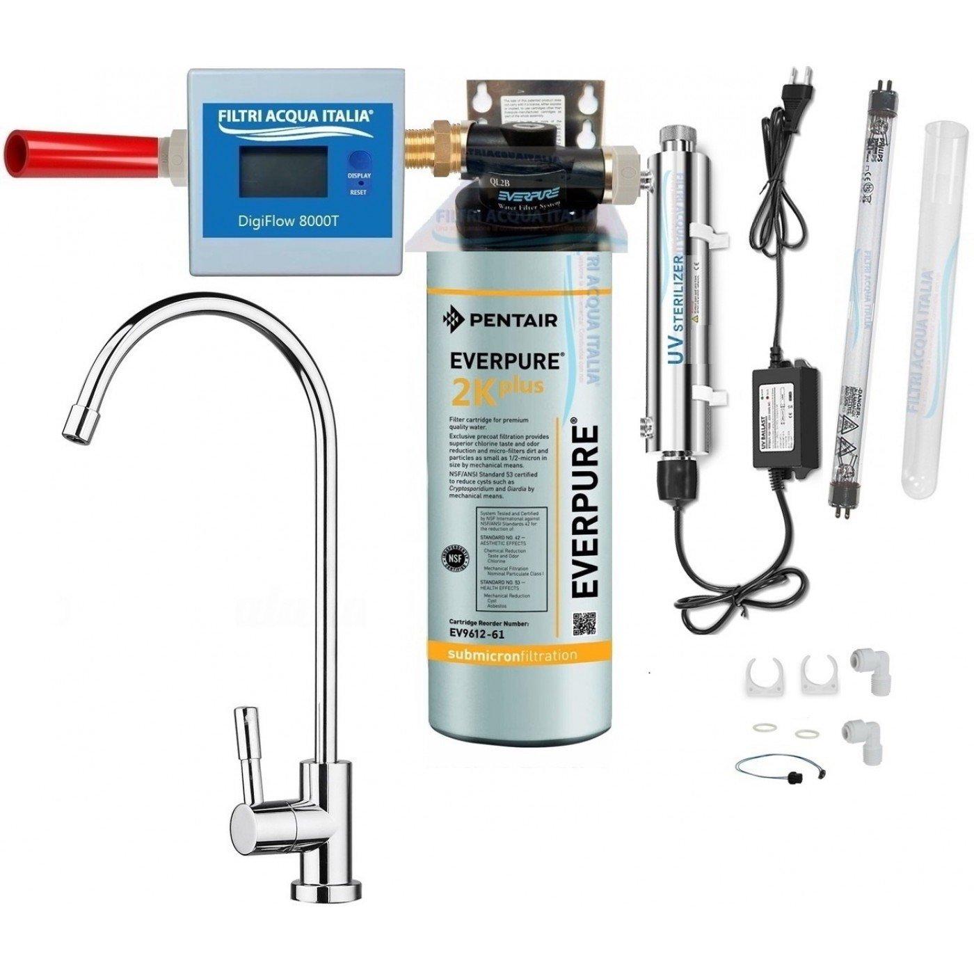 Kit Everpure 2K PLUS con Sterilizzatore UV Contalitri Testa QL2B Rubinetto
