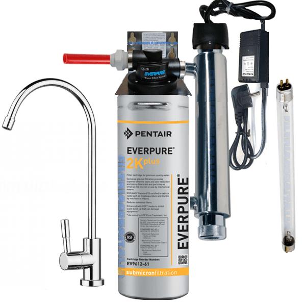 Kit Everpure 2K PLUS con Sterilizzatore UV Rubinetto e Testata QL2B