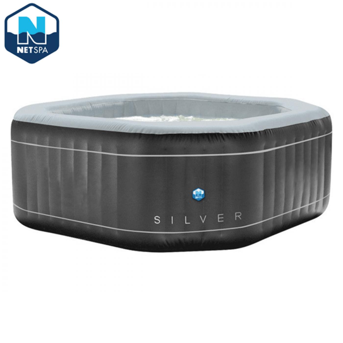 Piscina idromassaggio gonfiabile 5/6 Posti 195x195 Silver NETSPA
