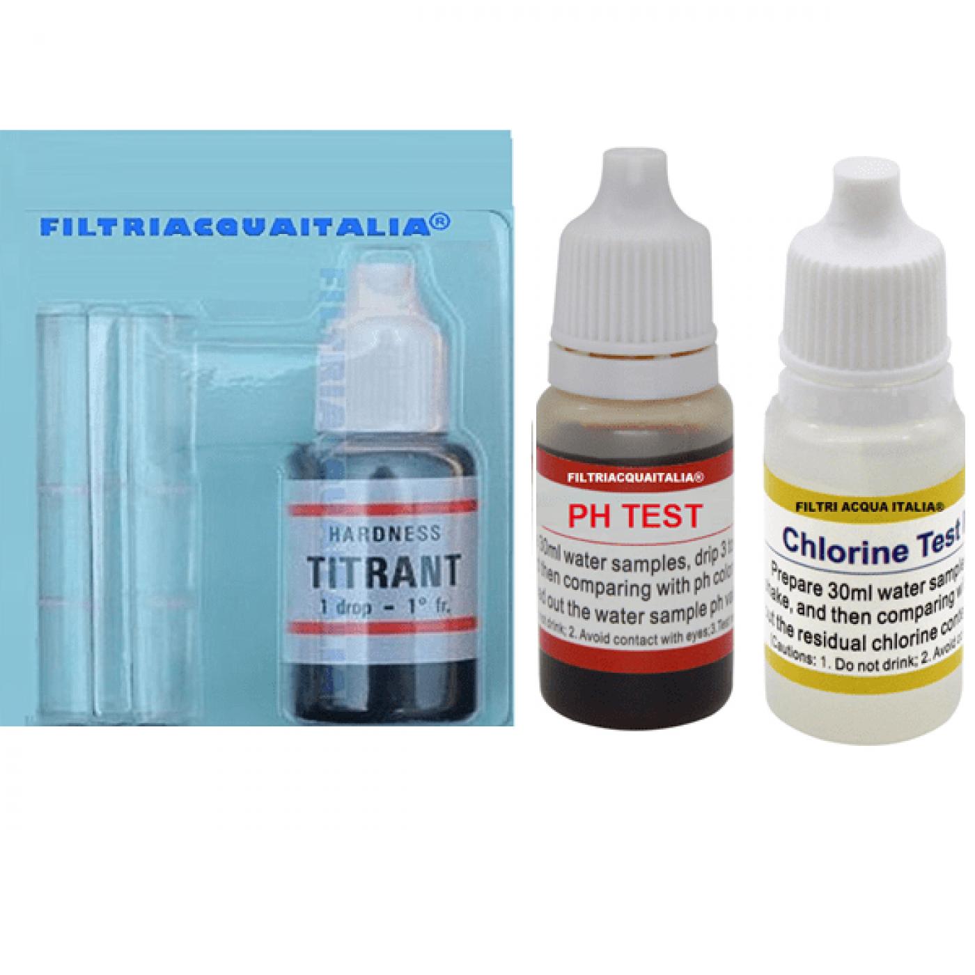 Titrant Analisi Durezza Calcare con Test Cloro Acqua e Ph
